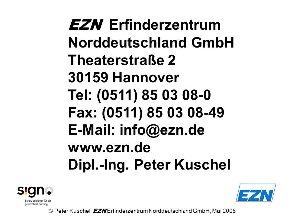 EZN Erfinderzentrum Norddeutschland GmbH Theaterstraße 2 30159 Hannover Tel: (0511) 85 03 08-0 Fax: (0511) 85 03 08-49 E-Mail: info@ezn.de www.ezn.de