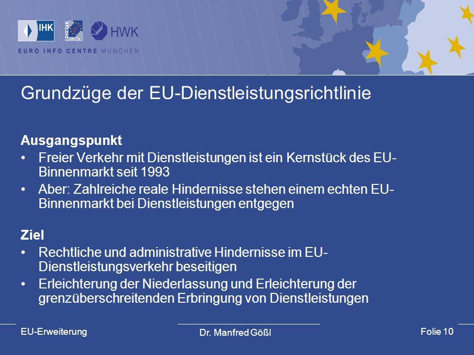 Dr. Manfred Gößl EU-ErweiterungFolie 10 Grundzüge der EU-Dienstleistungsrichtlinie Ausgangspunkt Freier Verkehr mit Dienstleistungen ist ein Kernstück