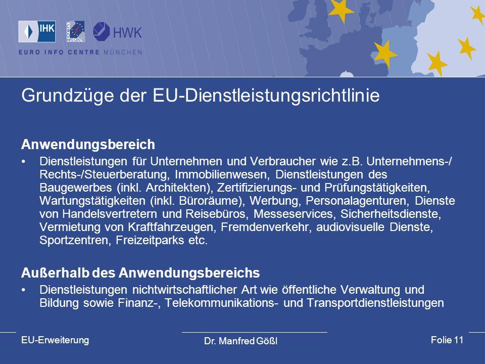 Dr. Manfred Gößl EU-ErweiterungFolie 11 Grundzüge der EU-Dienstleistungsrichtlinie Anwendungsbereich Dienstleistungen für Unternehmen und Verbraucher