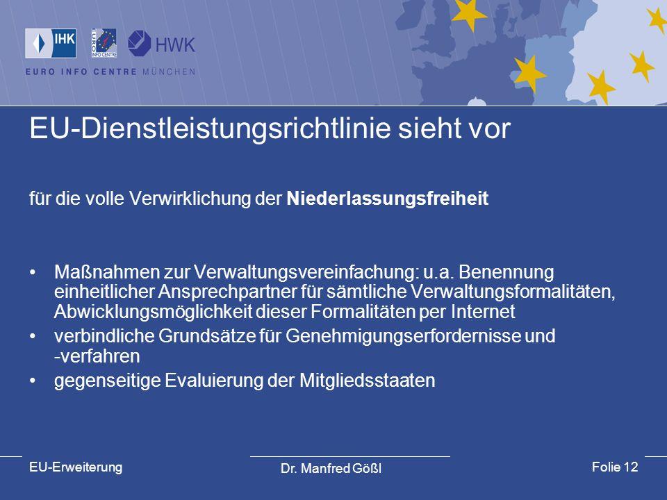 Dr. Manfred Gößl EU-ErweiterungFolie 12 EU-Dienstleistungsrichtlinie sieht vor für die volle Verwirklichung der Niederlassungsfreiheit Maßnahmen zur V