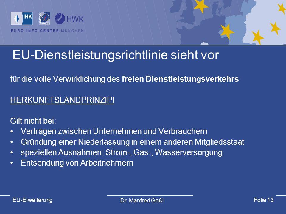 Dr. Manfred Gößl EU-ErweiterungFolie 13 EU-Dienstleistungsrichtlinie sieht vor für die volle Verwirklichung des freien Dienstleistungsverkehrs HERKUNF