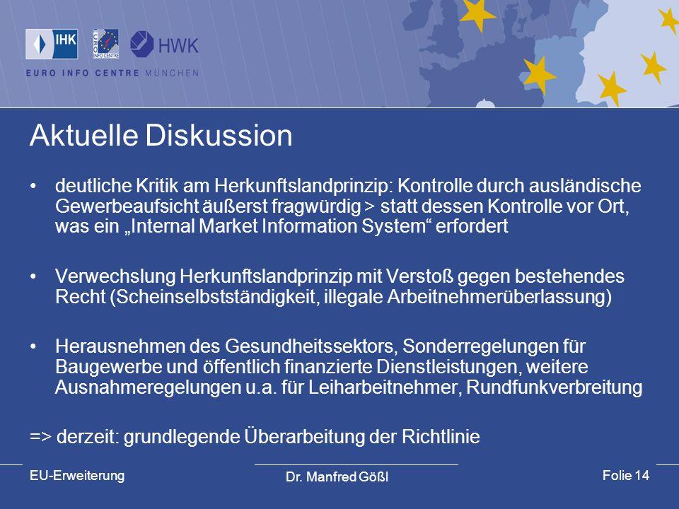 Dr. Manfred Gößl EU-ErweiterungFolie 14 Aktuelle Diskussion deutliche Kritik am Herkunftslandprinzip: Kontrolle durch ausländische Gewerbeaufsicht äuß
