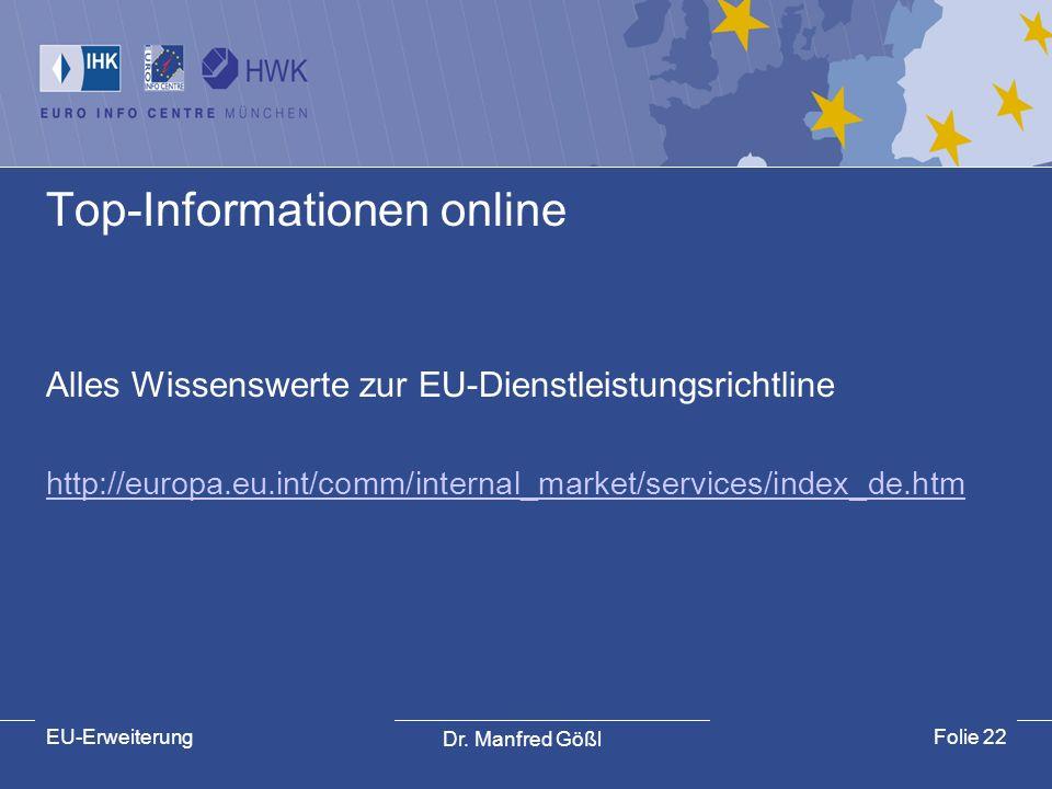 Dr. Manfred Gößl EU-ErweiterungFolie 22 Top-Informationen online Alles Wissenswerte zur EU-Dienstleistungsrichtline http://europa.eu.int/comm/internal