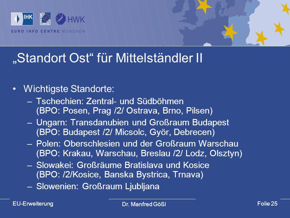 Dr. Manfred Gößl EU-ErweiterungFolie 25 Standort Ost für Mittelständler II Wichtigste Standorte: –Tschechien: Zentral- und Südböhmen (BPO: Posen, Prag
