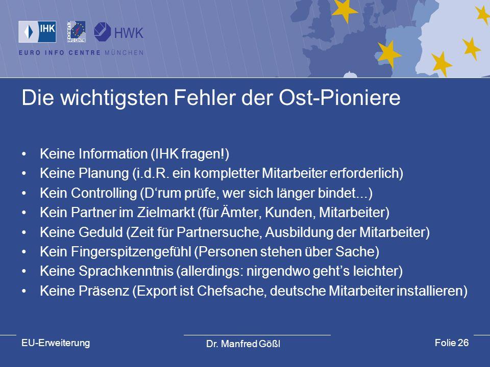 Dr. Manfred Gößl EU-ErweiterungFolie 26 Die wichtigsten Fehler der Ost-Pioniere Keine Information (IHK fragen!) Keine Planung (i.d.R. ein kompletter M