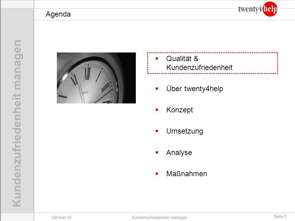 Oktober 05Kundenzufriedenheit managen Seite 2 Agenda Qualität & Kundenzufriedenheit Über twenty4help Konzept Umsetzung Analyse Maßnahmen