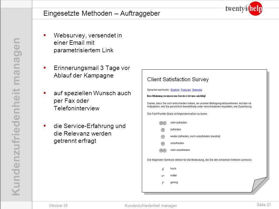 Oktober 05Kundenzufriedenheit managen Seite 21 Eingesetzte Methoden – Auftraggeber Websurvey, versendet in einer Email mit parametrisiertem Link Erinn