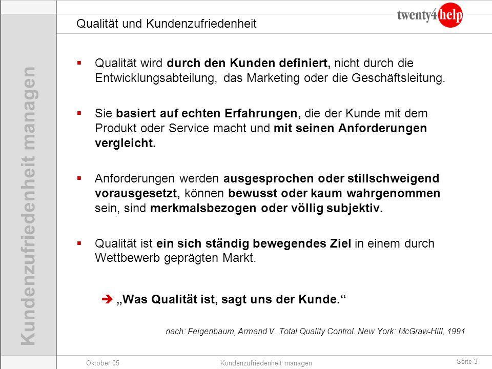 Oktober 05Kundenzufriedenheit managen Seite 3 Qualität und Kundenzufriedenheit Qualität wird durch den Kunden definiert, nicht durch die Entwicklungsa