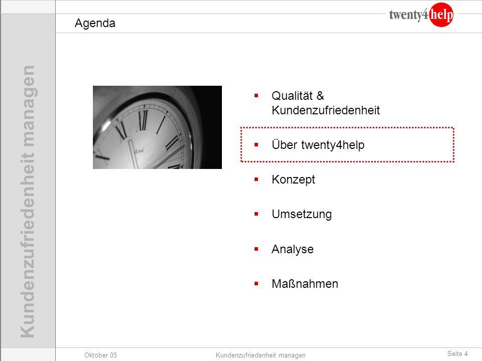 Oktober 05Kundenzufriedenheit managen Seite 4 Agenda Qualität & Kundenzufriedenheit Über twenty4help Konzept Umsetzung Analyse Maßnahmen