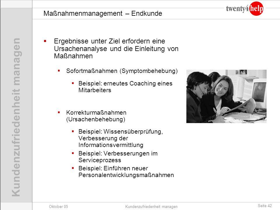 Oktober 05Kundenzufriedenheit managen Seite 42 Maßnahmenmanagement – Endkunde Ergebnisse unter Ziel erfordern eine Ursachenanalyse und die Einleitung