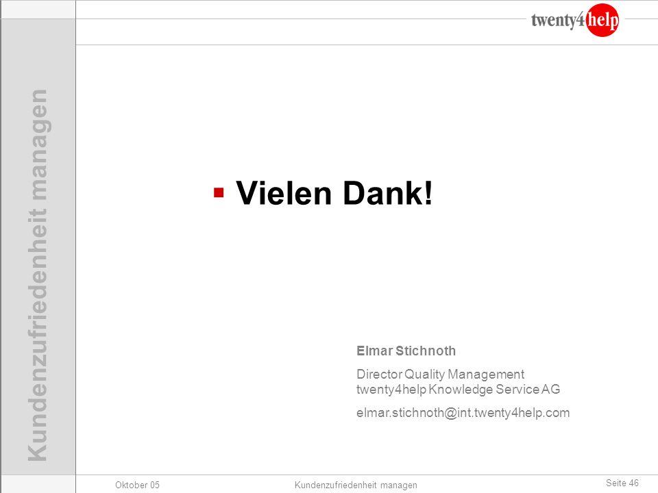 Oktober 05Kundenzufriedenheit managen Seite 46 Elmar Stichnoth Director Quality Management twenty4help Knowledge Service AG elmar.stichnoth@int.twenty