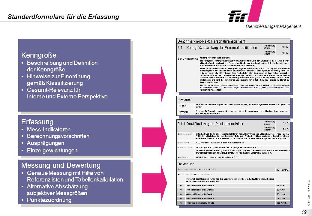 © FIR 2005 w w w.fir.de Dienstleistungsmanagement 19 Standardformulare für die Erfassung Kenngröße Beschreibung und Definition der Kenngröße Hinweise