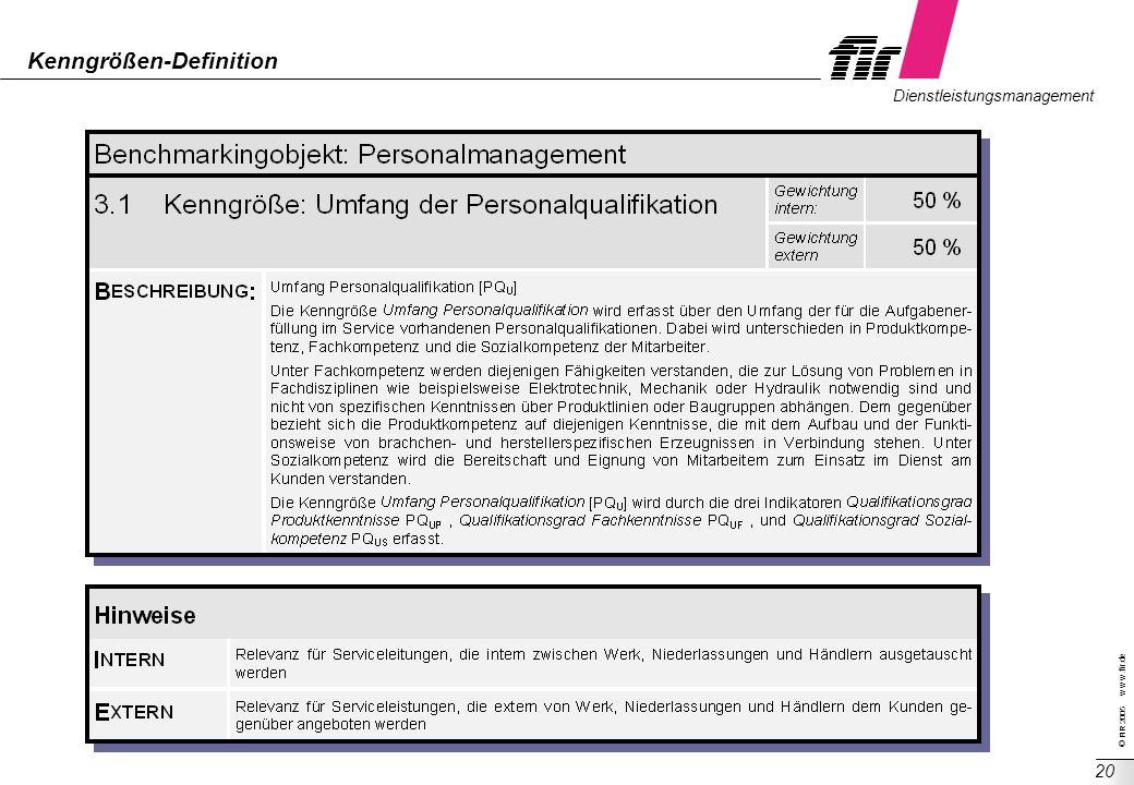 © FIR 2005 w w w.fir.de Dienstleistungsmanagement 20 Kenngrößen-Definition