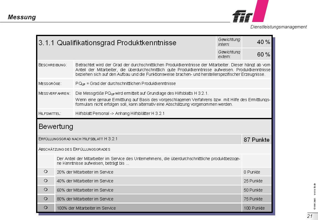 © FIR 2005 w w w.fir.de Dienstleistungsmanagement 21 Messung
