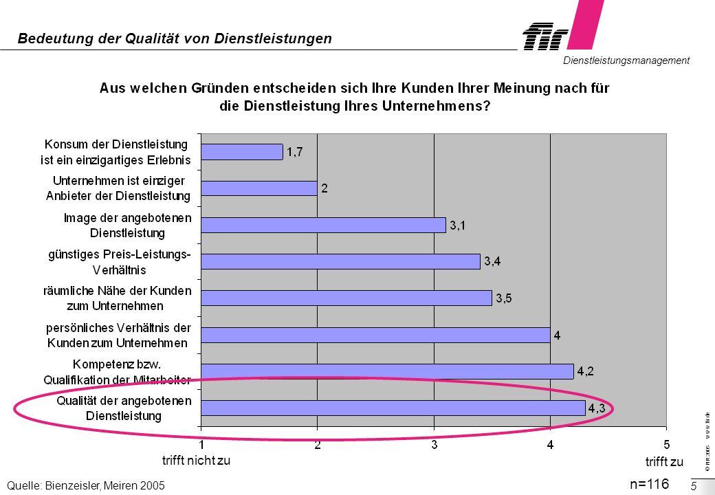 © FIR 2005 w w w.fir.de Dienstleistungsmanagement 5 Bedeutung der Qualität von Dienstleistungen trifft nicht zu trifft zu n=116 Quelle: Bienzeisler, M