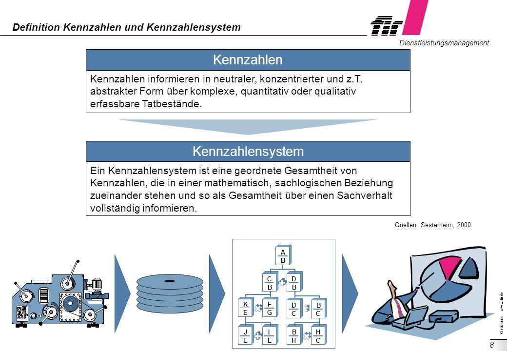 © FIR 2005 w w w.fir.de Dienstleistungsmanagement 8 Definition Kennzahlen und Kennzahlensystem Quellen: Sesterhenn, 2000 Kennzahlen Kennzahlen informi