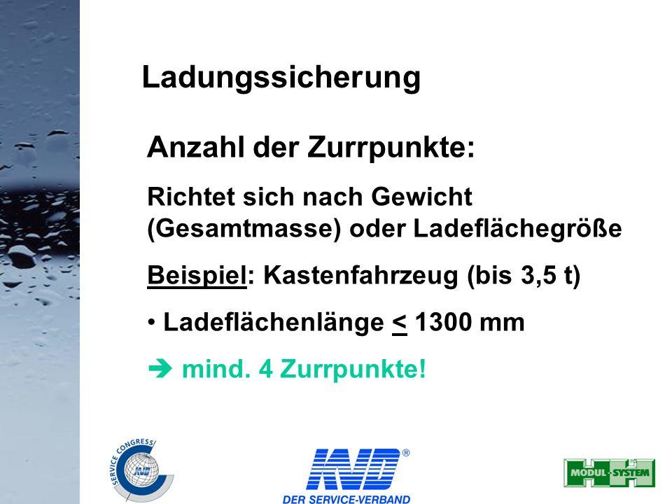 21 Ladungssicherung Anzahl der Zurrpunkte: Richtet sich nach Gewicht (Gesamtmasse) oder Ladeflächegröße Beispiel: Kastenfahrzeug (bis 3,5 t) Ladefläch