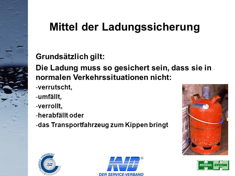 23 Grundsätzlich gilt: Die Ladung muss so gesichert sein, dass sie in normalen Verkehrssituationen nicht: -verrutscht, -umfällt, -verrollt, -herabfäll