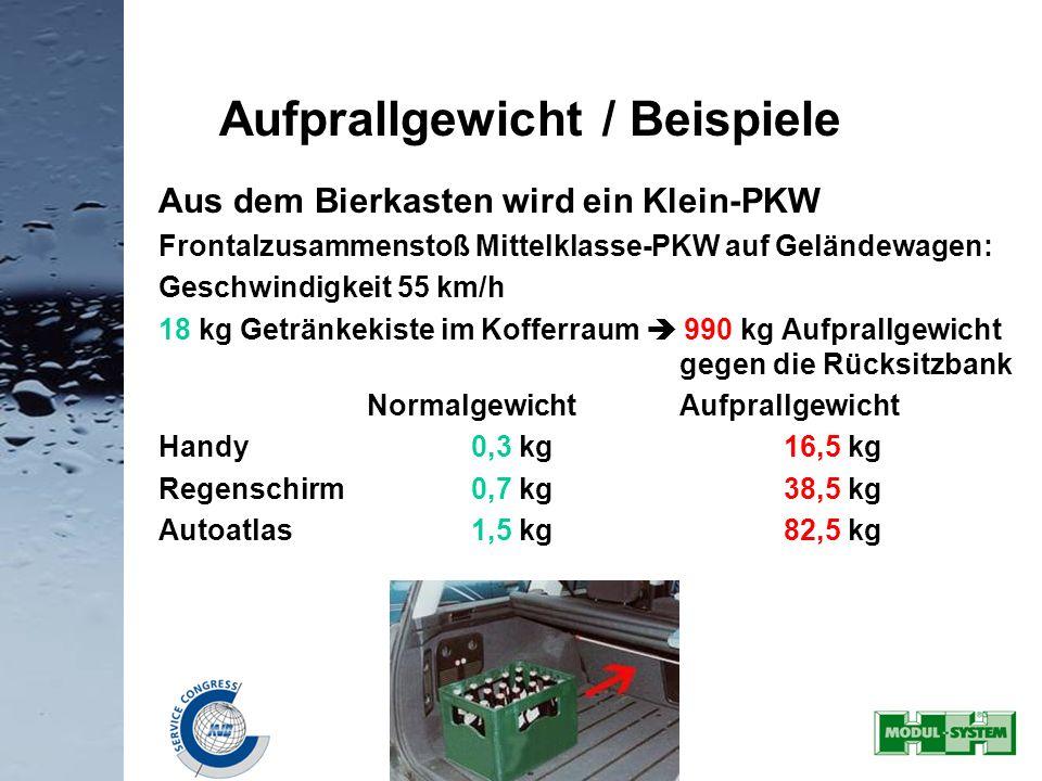 31 Aus dem Bierkasten wird ein Klein-PKW Frontalzusammenstoß Mittelklasse-PKW auf Geländewagen: Geschwindigkeit 55 km/h 18 kg Getränkekiste im Kofferr