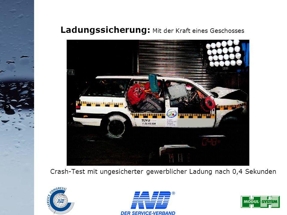 34 Ladungssicherung: Mit der Kraft eines Geschosses Crash-Test mit ungesicherter gewerblicher Ladung nach 0,4 Sekunden