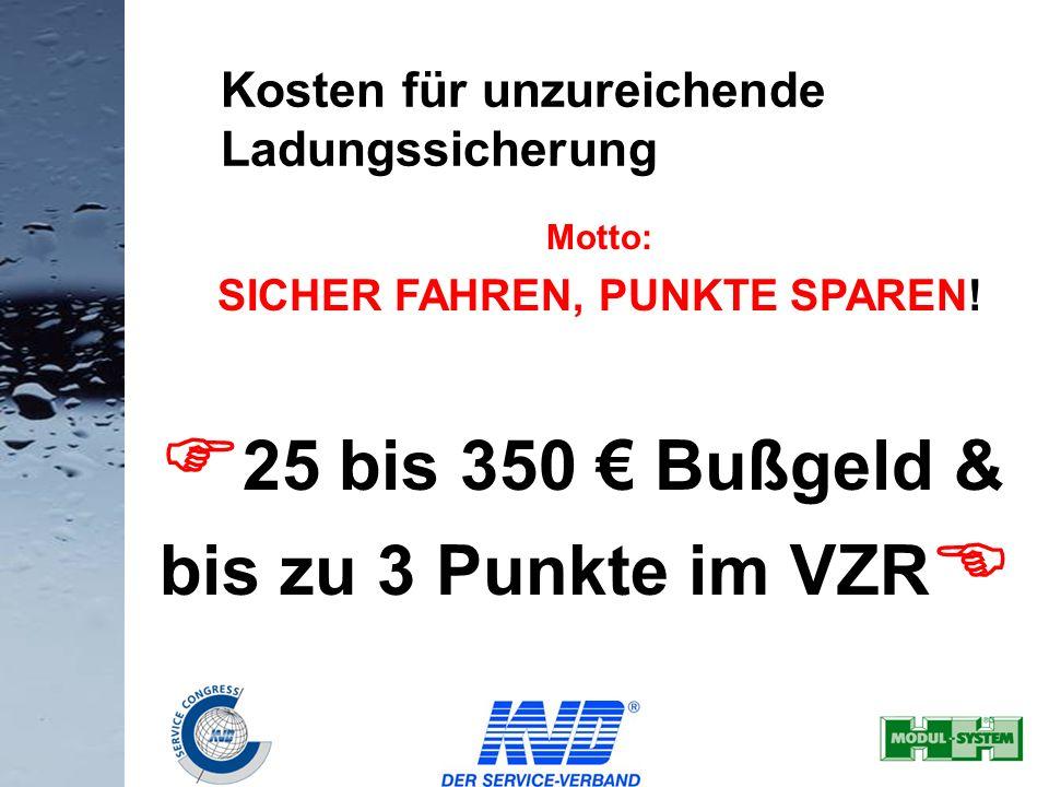 36 Motto: SICHER FAHREN, PUNKTE SPAREN! 25 bis 350 Bußgeld & bis zu 3 Punkte im VZR Kosten für unzureichende Ladungssicherung
