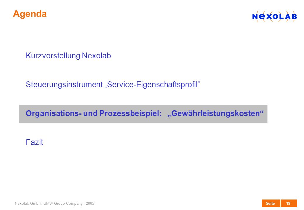 19 SeiteNexolab GmbH, BMW Group Company | 2005 Agenda Kurzvorstellung Nexolab Steuerungsinstrument Service-Eigenschaftsprofil Organisations- und Proze
