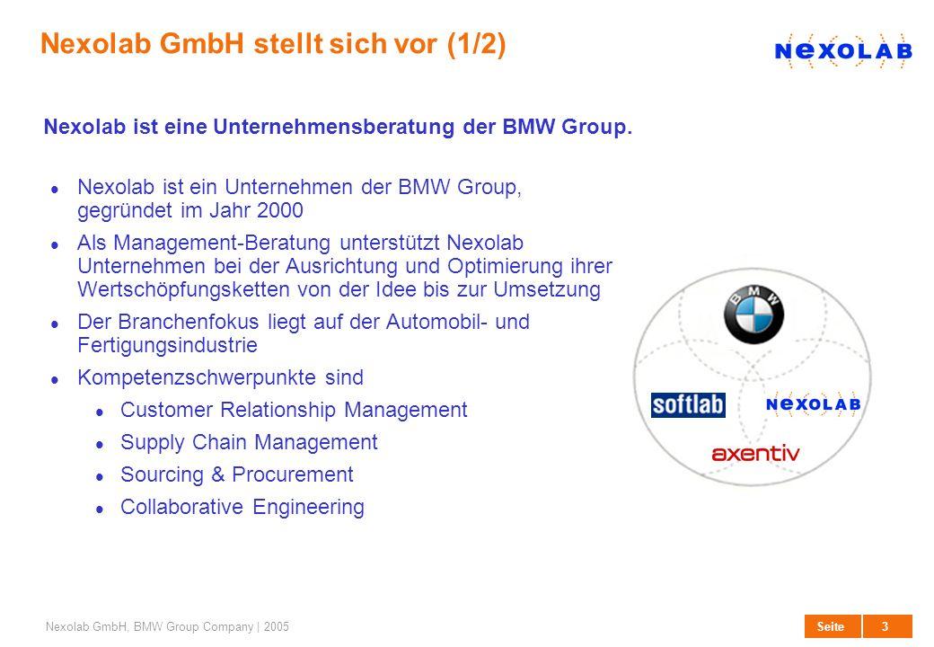3 SeiteNexolab GmbH, BMW Group Company | 2005 Nexolab GmbH stellt sich vor (1/2) Nexolab ist ein Unternehmen der BMW Group, gegründet im Jahr 2000 Als