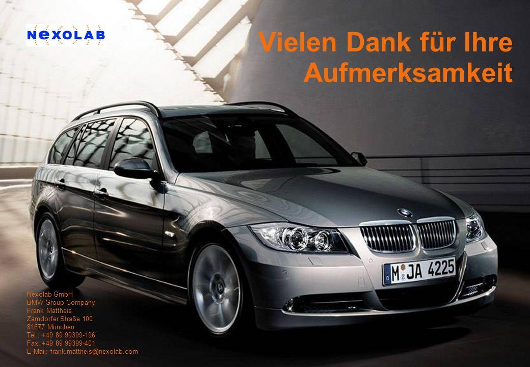 Nexolab GmbH, BMW Group Company | 2005 Vielen Dank für Ihre Aufmerksamkeit Nexolab GmbH BMW Group Company Frank Mattheis Zamdorfer Straße 100 81677 Mü