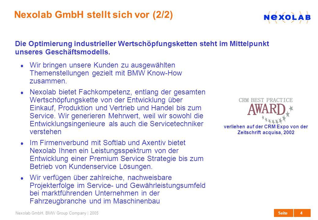4 SeiteNexolab GmbH, BMW Group Company | 2005 Nexolab GmbH stellt sich vor (2/2) Wir bringen unsere Kunden zu ausgewählten Themenstellungen gezielt mi