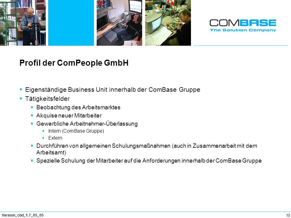 10 Version_cbd_1.7_05_05 Profil der ComPeople GmbH Eigenständige Business Unit innerhalb der ComBase Gruppe Tätigkeitsfelder Beobachtung des Arbeitsma