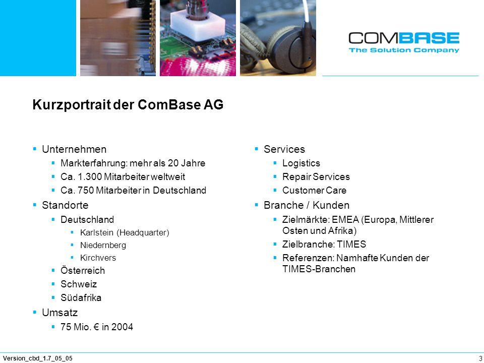 3 Version_cbd_1.7_05_05 Kurzportrait der ComBase AG Unternehmen Markterfahrung: mehr als 20 Jahre Ca. 1.300 Mitarbeiter weltweit Ca. 750 Mitarbeiter i