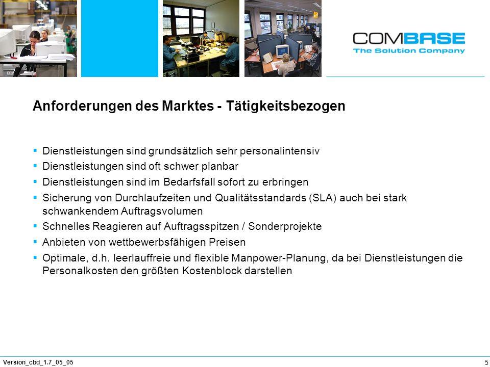 5 Version_cbd_1.7_05_05 Anforderungen des Marktes - Tätigkeitsbezogen Dienstleistungen sind grundsätzlich sehr personalintensiv Dienstleistungen sind