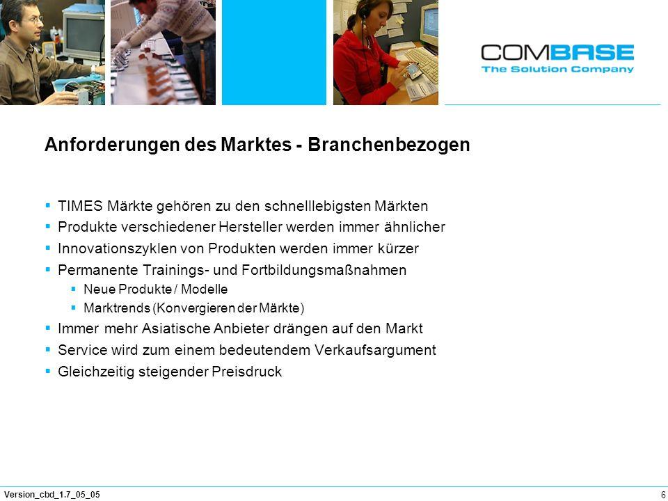 6 Version_cbd_1.7_05_05 Anforderungen des Marktes - Branchenbezogen TIMES Märkte gehören zu den schnelllebigsten Märkten Produkte verschiedener Herste