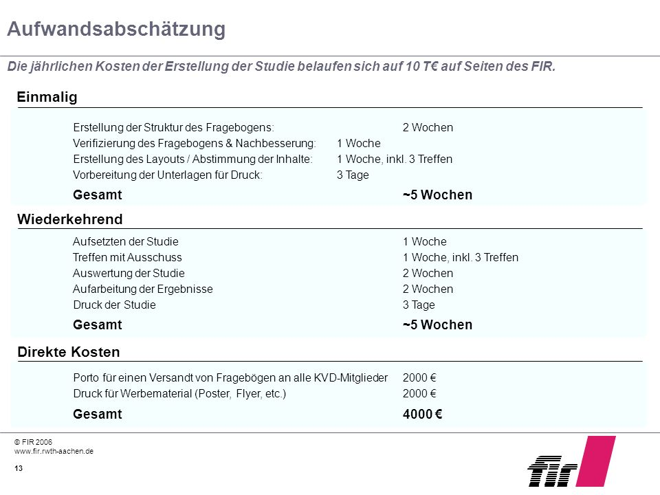© FIR 2006 www.fir.rwth-aachen.de 13 Aufwandsabschätzung Die jährlichen Kosten der Erstellung der Studie belaufen sich auf 10 T auf Seiten des FIR. Er