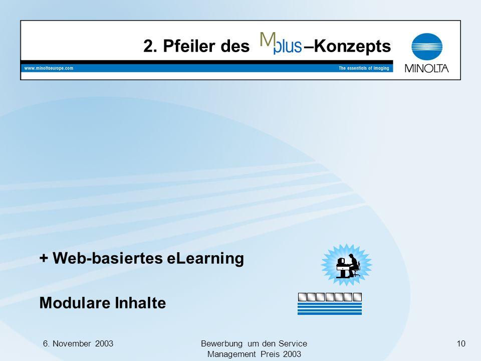 6. November 2003Bewerbung um den Service Management Preis 2003 10 Modulare Inhalte + Web-basiertes eLearning 2. Pfeiler des –Konzepts