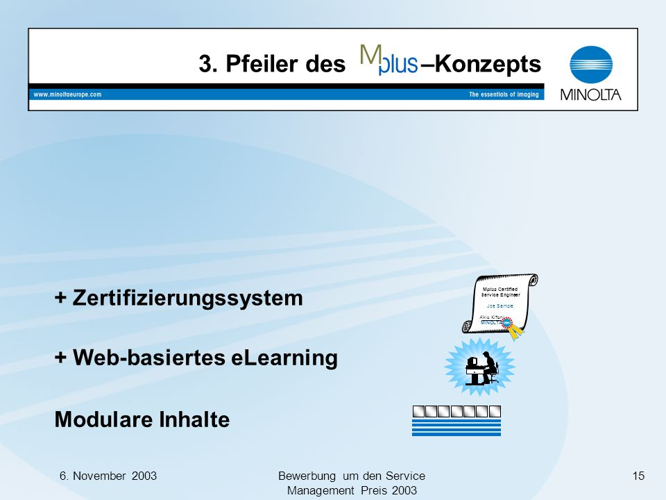 6. November 2003Bewerbung um den Service Management Preis 2003 15 Modulare Inhalte + Web-basiertes eLearning Mplus Certified Service Engineer Joe Samp