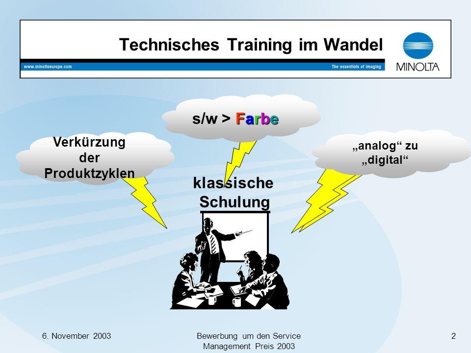 6. November 2003Bewerbung um den Service Management Preis 2003 2 klassische Schulung Technisches Training im Wandel Verkürzung der Produktzyklen Farbe