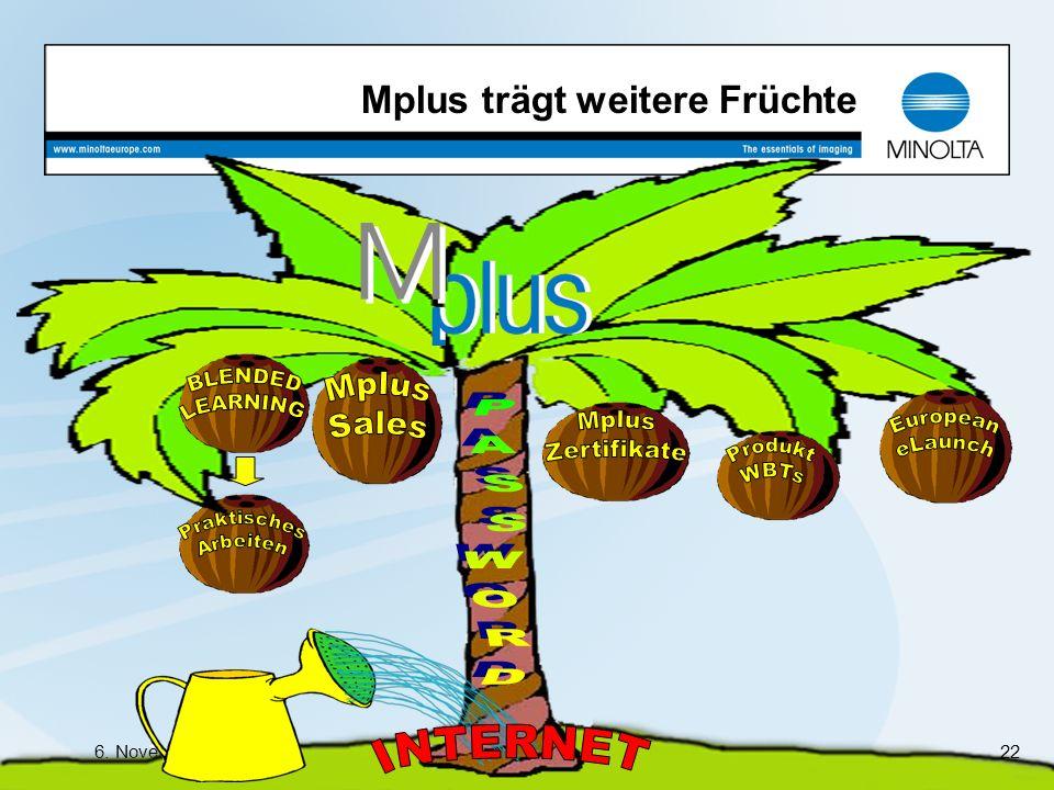 6. November 2003Bewerbung um den Service Management Preis 2003 22 Mplus trägt weitere Früchte