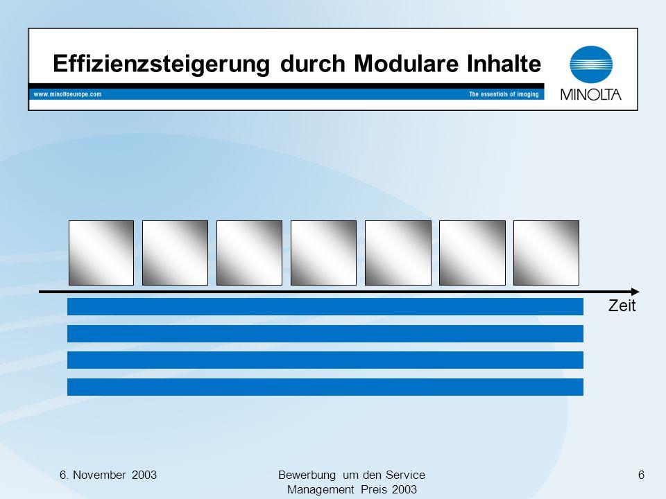 6. November 2003Bewerbung um den Service Management Preis 2003 6 Effizienzsteigerung durch Modulare Inhalte Zeit