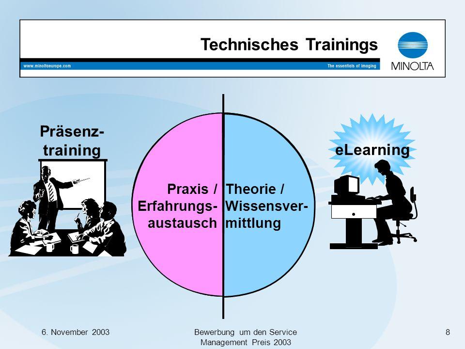 6. November 2003Bewerbung um den Service Management Preis 2003 8 Präsenz- training eLearning Trainingsinhalte Technisches Trainings Trainingsmethode T