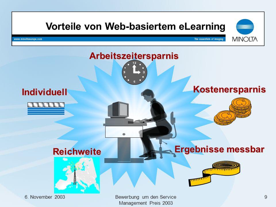 6. November 2003Bewerbung um den Service Management Preis 2003 9 Vorteile von Web-basiertem eLearningKostenersparnis Ergebnisse messbar Individuell Re