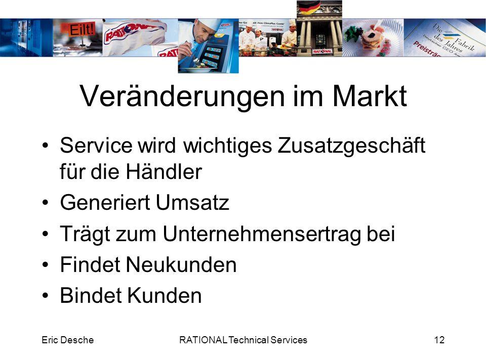 Eric DescheRATIONAL Technical Services12 Veränderungen im Markt Service wird wichtiges Zusatzgeschäft für die Händler Generiert Umsatz Trägt zum Unter