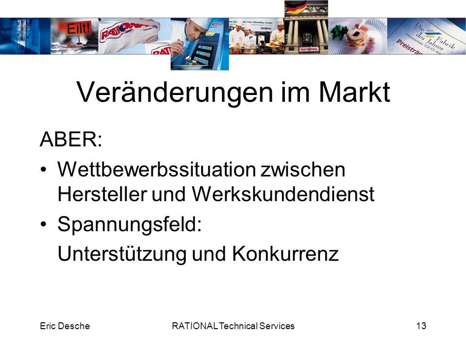 Eric DescheRATIONAL Technical Services13 Veränderungen im Markt ABER: Wettbewerbssituation zwischen Hersteller und Werkskundendienst Spannungsfeld: Un