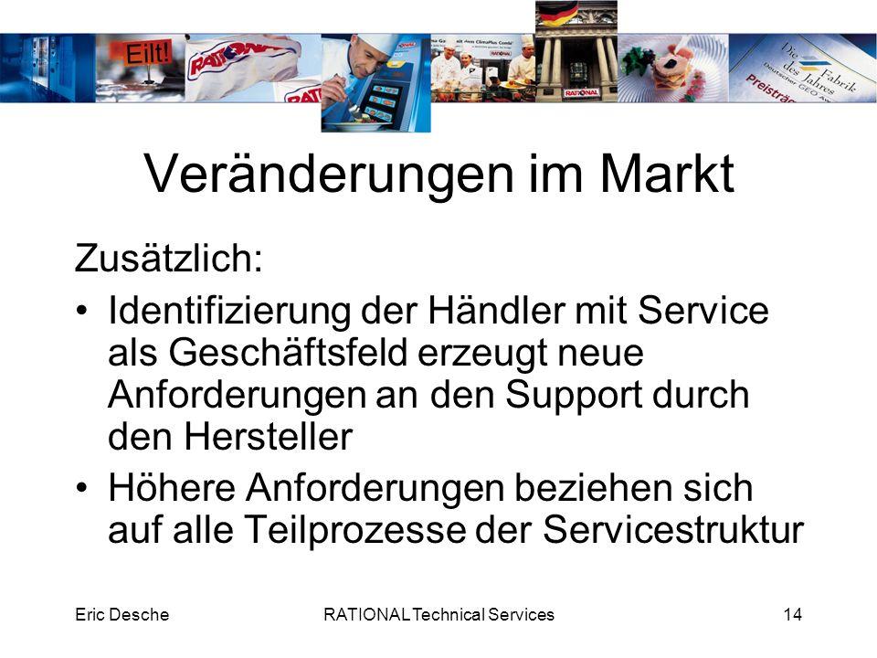 Eric DescheRATIONAL Technical Services14 Veränderungen im Markt Zusätzlich: Identifizierung der Händler mit Service als Geschäftsfeld erzeugt neue Anf
