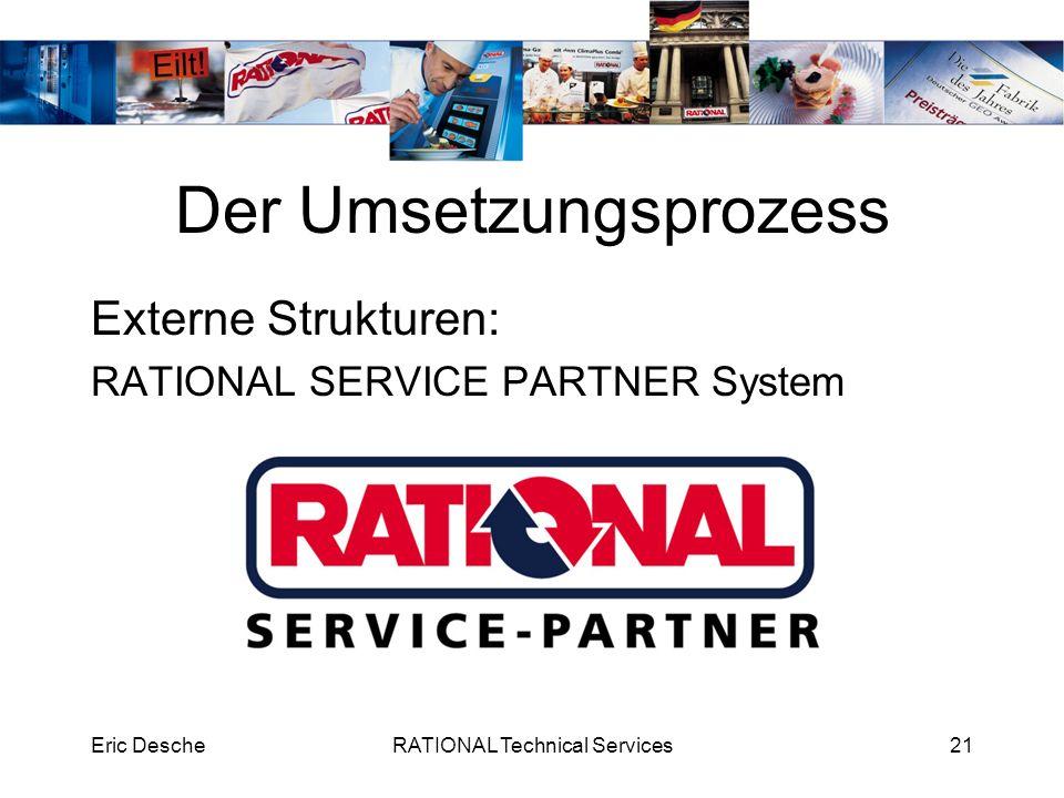 Eric DescheRATIONAL Technical Services21 Der Umsetzungsprozess Externe Strukturen: RATIONAL SERVICE PARTNER System