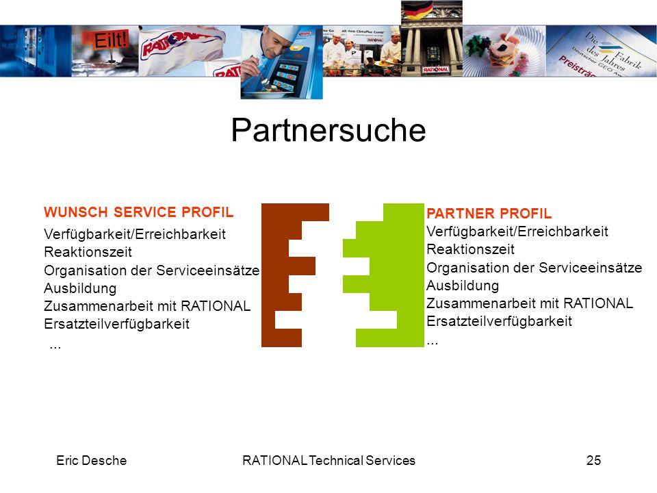 Eric DescheRATIONAL Technical Services25 Partnersuche WUNSCH SERVICE PROFIL PARTNER PROFIL Verfügbarkeit/Erreichbarkeit Reaktionszeit Organisation der