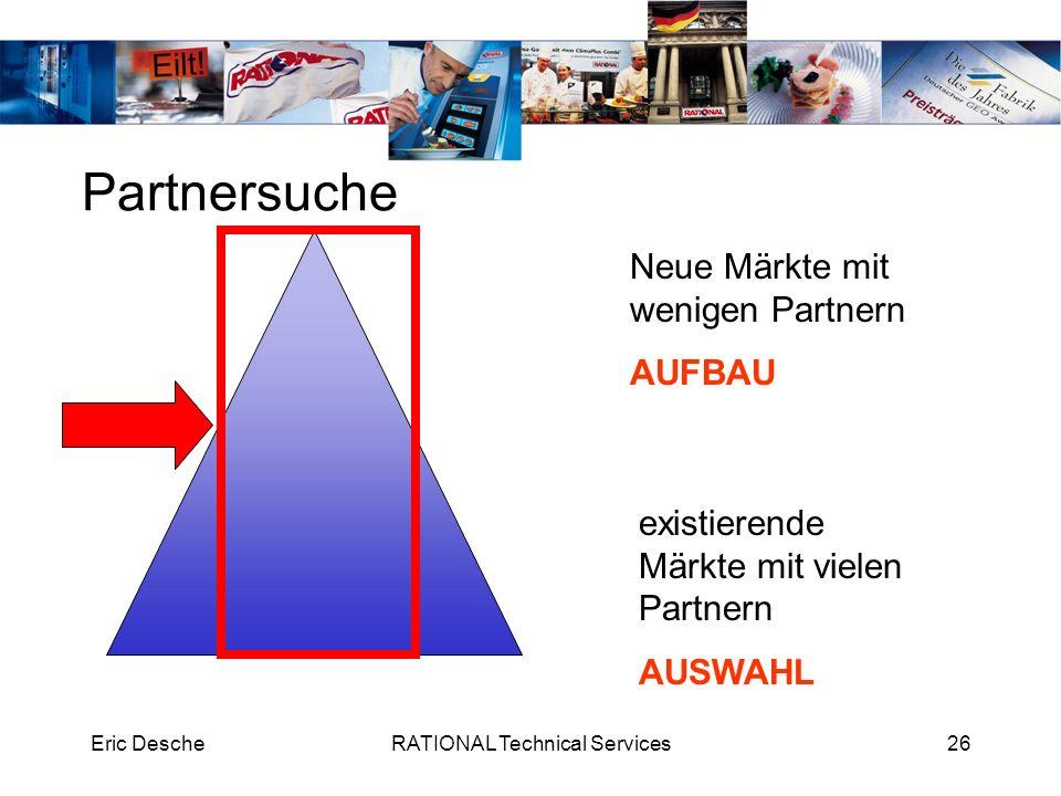 Eric DescheRATIONAL Technical Services26 Partnersuche Neue Märkte mit wenigen Partnern AUFBAU existierende Märkte mit vielen Partnern AUSWAHL