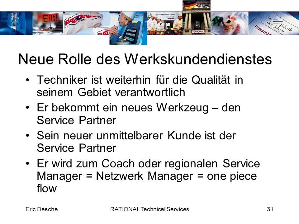 Eric DescheRATIONAL Technical Services31 Neue Rolle des Werkskundendienstes Techniker ist weiterhin für die Qualität in seinem Gebiet verantwortlich E
