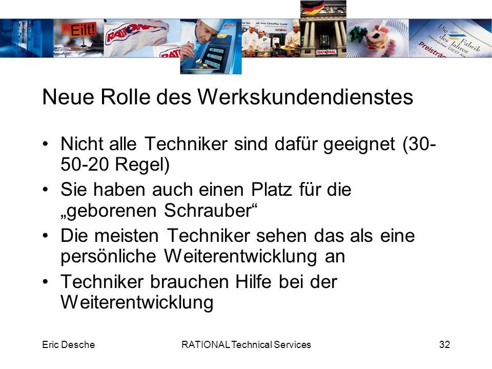 Eric DescheRATIONAL Technical Services32 Neue Rolle des Werkskundendienstes Nicht alle Techniker sind dafür geeignet (30- 50-20 Regel) Sie haben auch