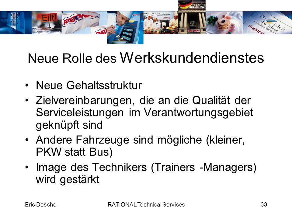 Eric DescheRATIONAL Technical Services33 Neue Rolle des Werkskundendienstes Neue Gehaltsstruktur Zielvereinbarungen, die an die Qualität der Servicele